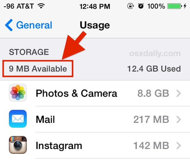 Low usage of iOS storage space