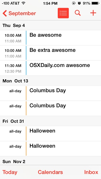 Holidays shown in the Calendar app for iPhone