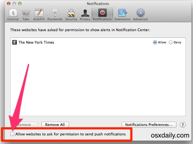 Turn off push notifications from websites in Mac OS X.