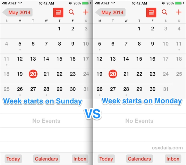 Week starts on Monday vs Sunday in iOS Calendar app