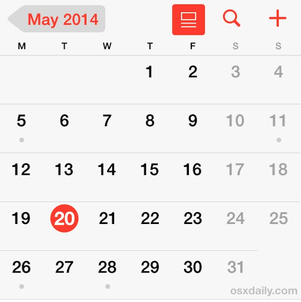 Start the week on Monday in Calendar for iPhone