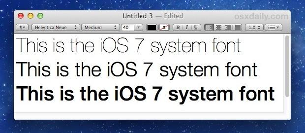 iOS system font Helvetica Neue