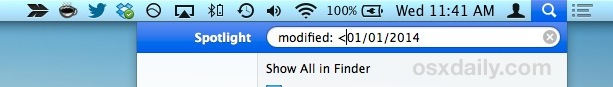 Find files modified before and after a specific date in Spotlight for Mac