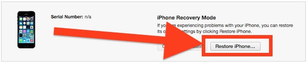 IPhone recovery mode restore
