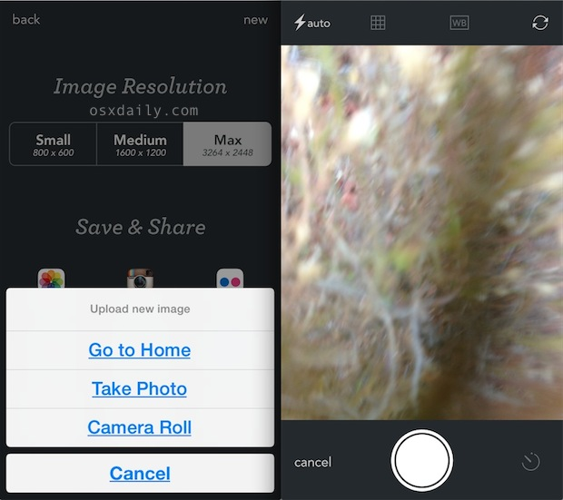 Take photos with another app when iPhone Camera says too full