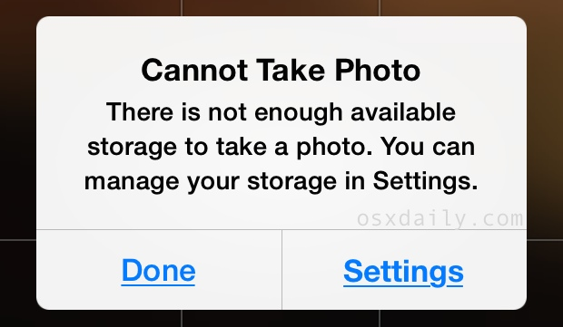 Unable to take photo - insufficient available storage error on iPhone