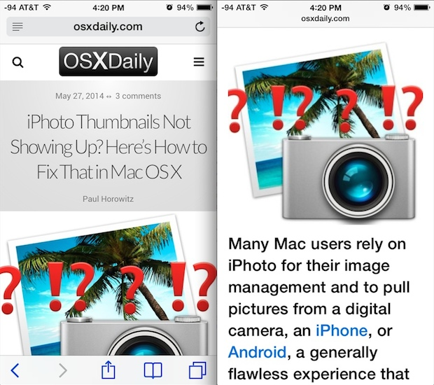 Safari Reader mode on one mobile optimized site on iPhone