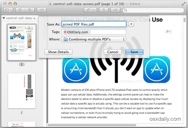 Save the merged PDF files with Mac Preview
