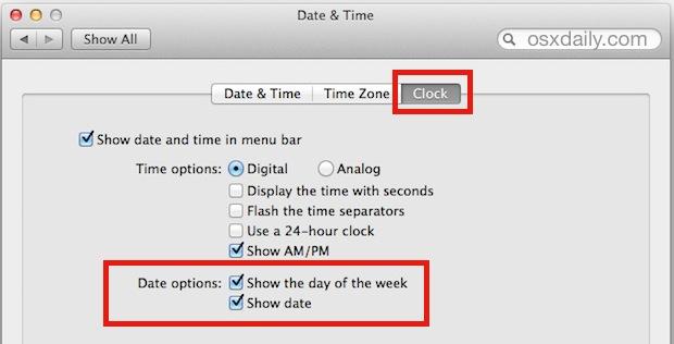 Show date in Mac OS X menu bar