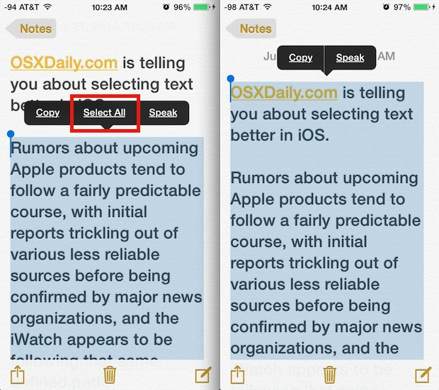 Quickly select all text in iOS