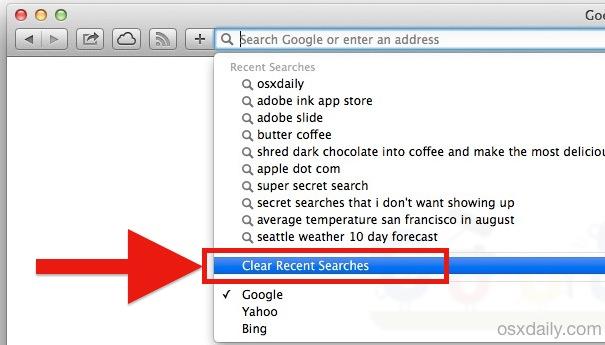 Clear recent searches in Safari