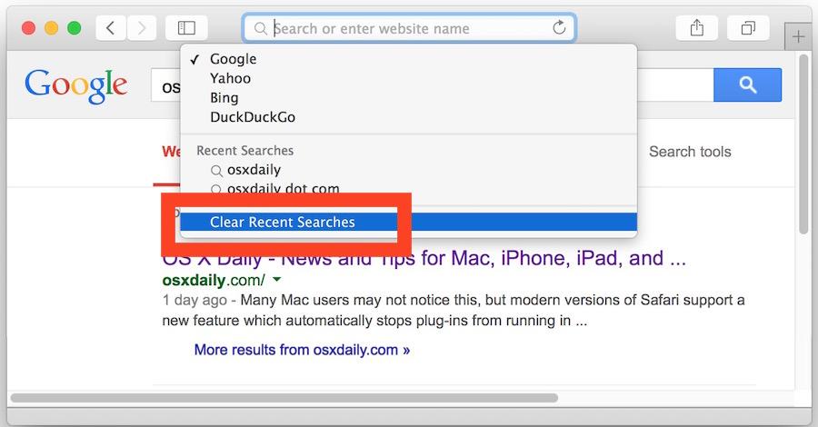 Clear search history in Safari in OS X Yosemite