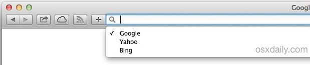 Empty recent searches in Safari