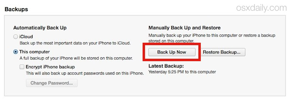 An iOS device backupup to launch iTunes