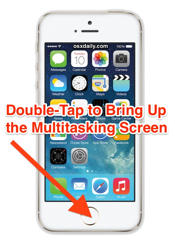 Double tap to open the multitasking app screen in iOS