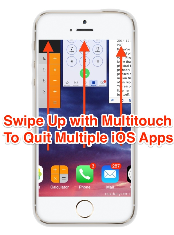 Close multiple apps at once with swipeup gestures on the iPhone