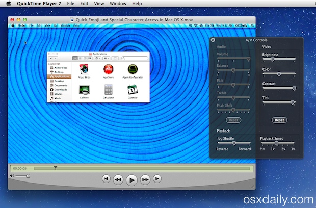 QuickTime Player 7 in Mac OS X
