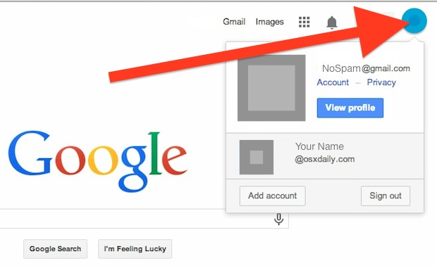 Change the default Google account with multiple sign-in
