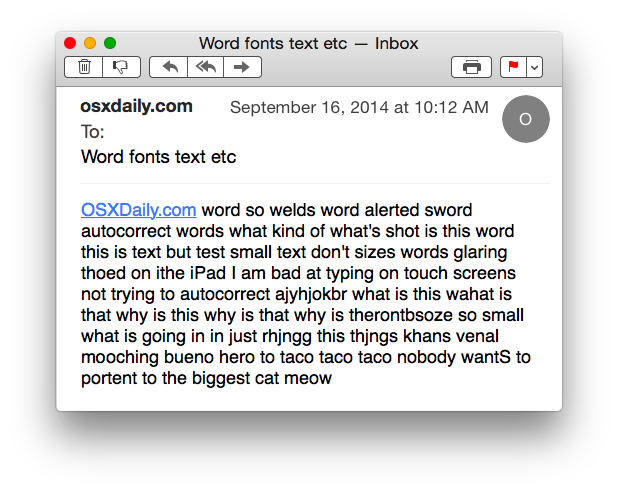 Larger font size for Mail in Mac OS X
