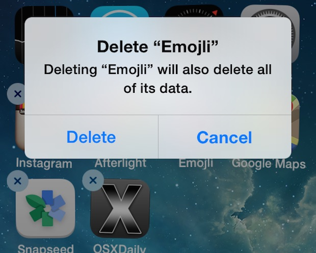 Delete an app from iPhone by tapping and holding trick
