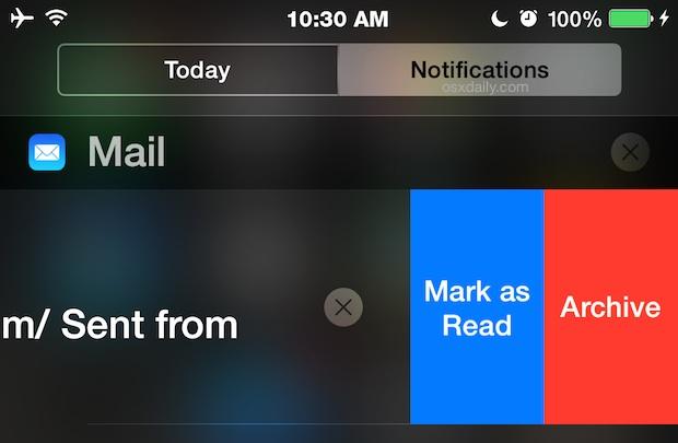 Interactive notifications in iOS
