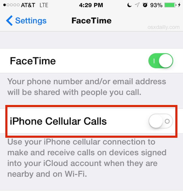 Mobile call setting from iPhone