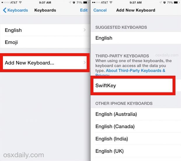 Adding a new keyboard in iOS