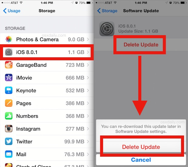 Remove iOS updates from an iPhone