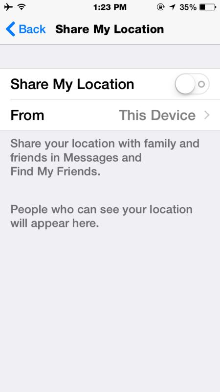 Turn off Location sharing