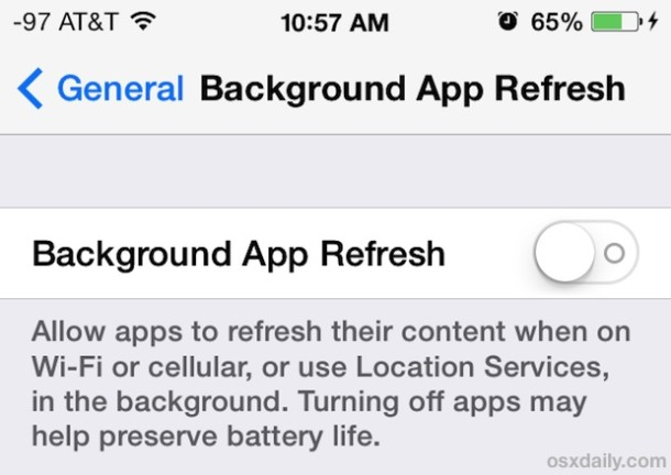 Turn off background app activity