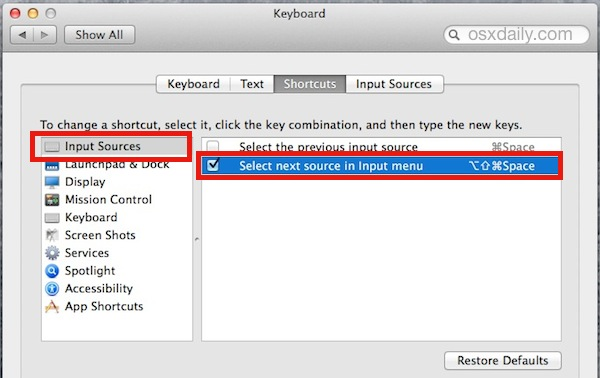 Set the keystroke to change the language keyboard in Mac OS X