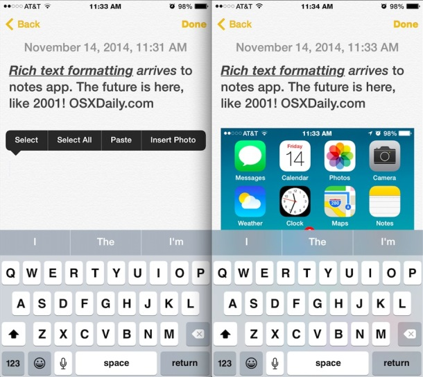 Insert a picture in Notes on iOS