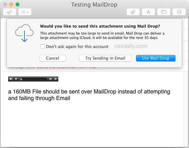 Use Mail Drop to send a large file via email in Mac OS X