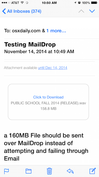 Mail Drop in Email for iOS