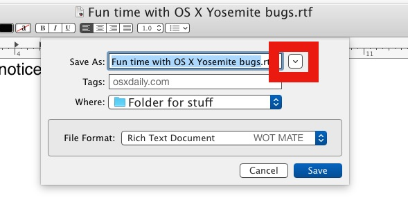 Shrink a Save dialog box in OS X.