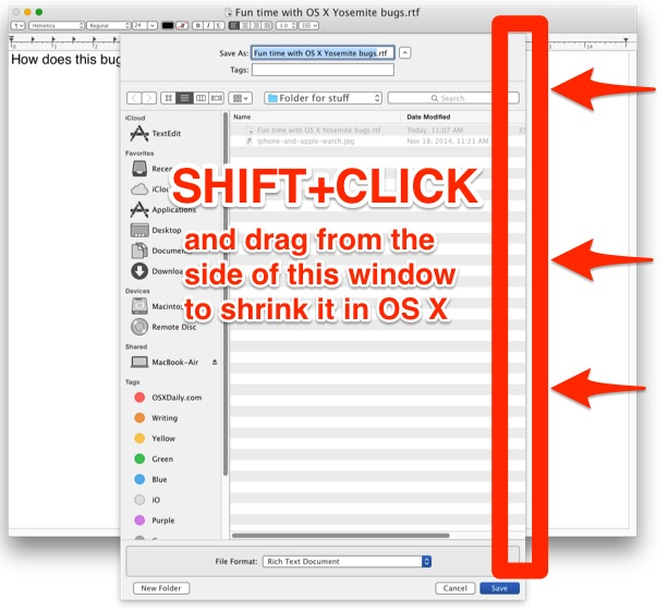 Resize a huge Open and Save dialog in OS X with a Shift-click and drag