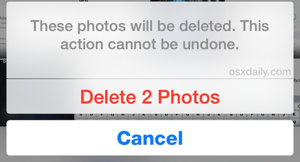 Confirm to delete photos permanently in iOS immediately
