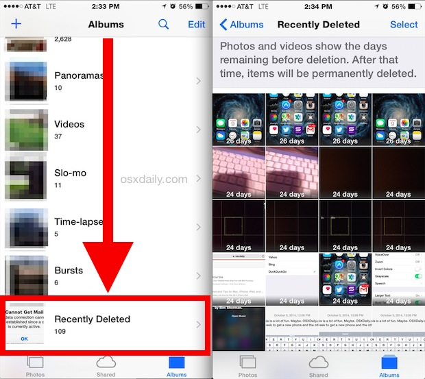 Go to the recently deleted photo album to delete images directly