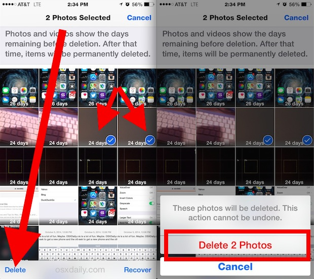Immediately delete photos in iOS permanently from Albums view