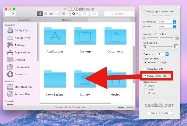 Make the library folder visible in OS X Yosemite with a settings toggle