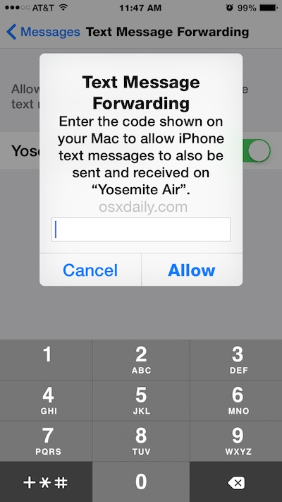 Confirm SMS text message relay to send and receive text messages from Mac through iPhone