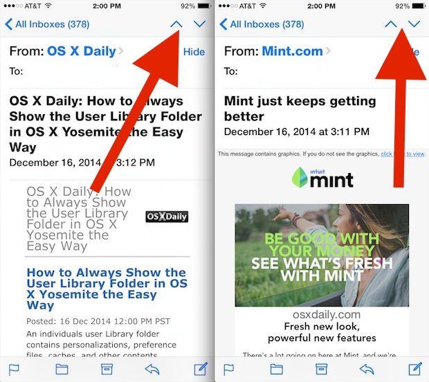 Navigate to next and previous emails in Mail for iOS