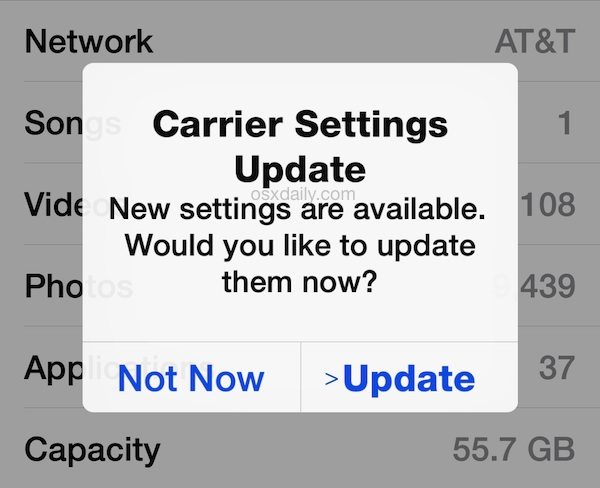 Update carrier settings on an iPhone
