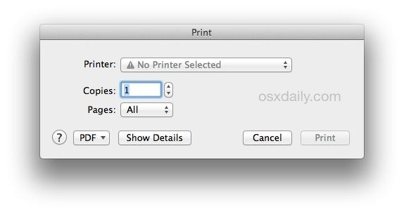 The standard print dialog in Mac OS X