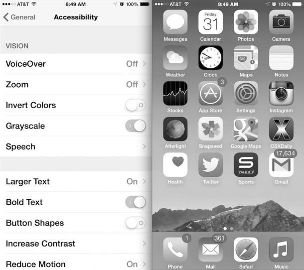 Grayscale iPhone display mode