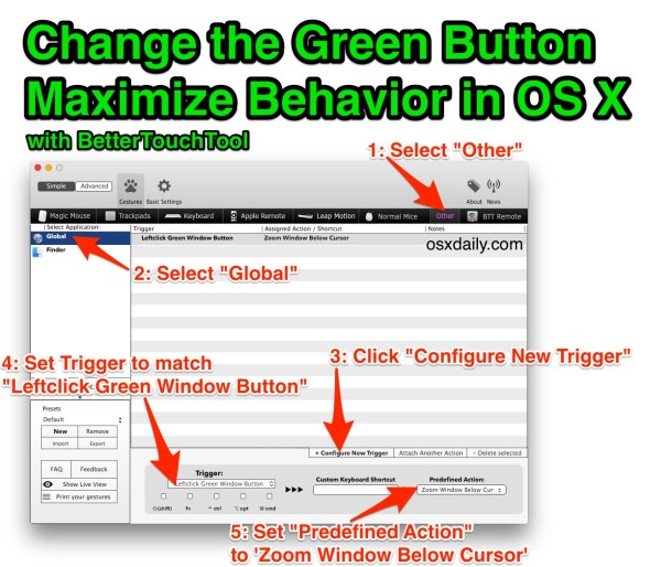 Change the Green Button Maximize behavior in OS X