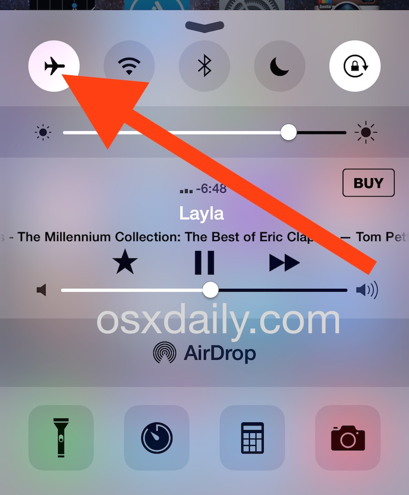 Flush the DNS cache on iPhone by toggling airplane mode on and off