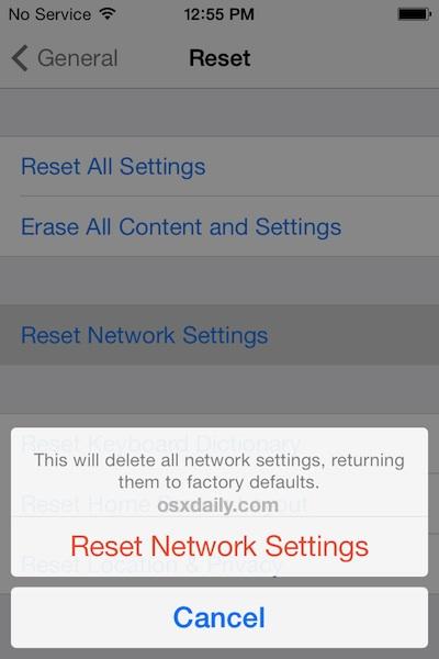 Reset network settings in iOS