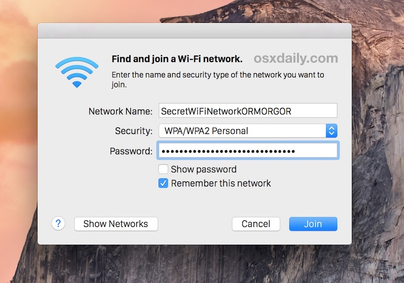 Joining a hidden Mac OS X wireless router by providing the un-broadcast SSID
