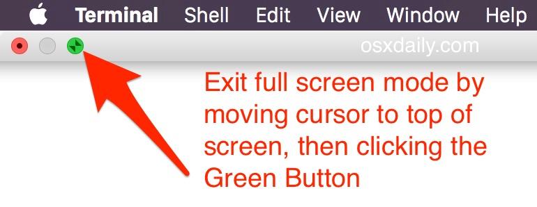 Exit full screen mode in Mac OS X
